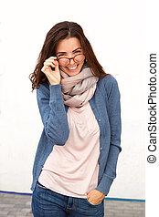 stylish female model smiling with glasses