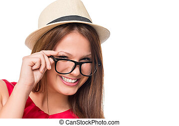 Portrait of stylish girl in glasses on a white background closeup
