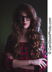 Portrait of stylish woman wearing glasses