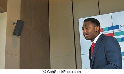 Portrait of successful African-American businessman. Slow...