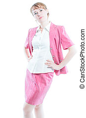 Portrait of successful business woman on a white background