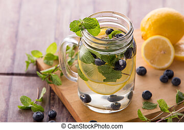 Summer fresh fruit drink. fruit Flavored water mix with ...