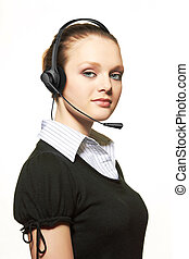 Portrait of support phone operator in headset