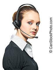 Portrait of support phone operator