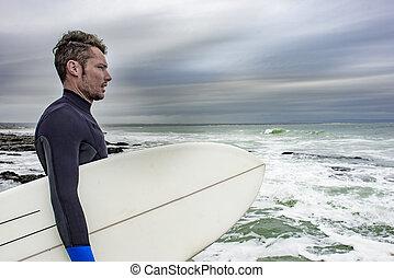 Portrait of Surfer Viewing the Ocean