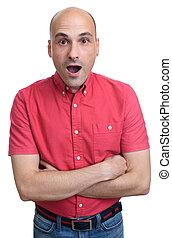 portrait of surprised bald man