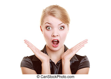 Portrait of surprised businesswoman shocked woman - Portrait...