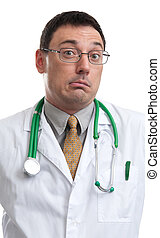 surprised doctor - portrait of surprised doctor isolated on...