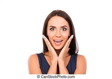 Portrait of surprised happy young woman on white background