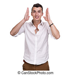 Portrait of surprised young man isolated on white