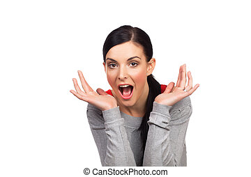 Portrait of surprised young woman - isolated