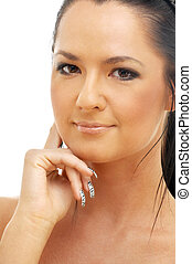 portrait of tanned brunette over white background