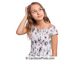 Portrait of teen girl on white