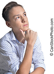 portrait of teenage boy on white background