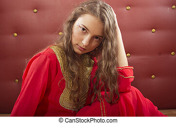 portrait of teenage girl in orient dance costume