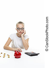 Portrait of Teenage Girl Posing With Coins and Moneybox. Calculating Income With Calculator. Vertical Image