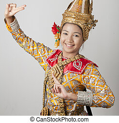Portrait of Thai young lady in an ancient Thailand dance