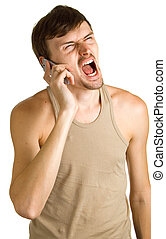 aggressive young men with cellular phone