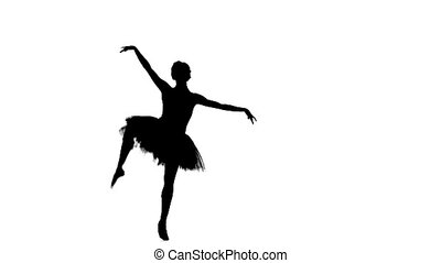 Portrait of the ballerina in ballet pose on white, silhouette, slow motion