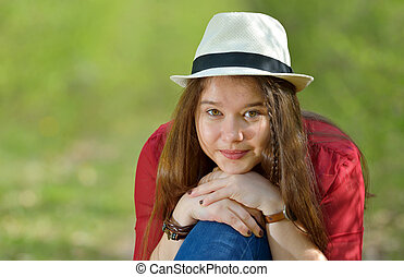 Portrait of the beautiful  girl outdoor