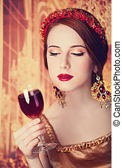 redhead women with wine.