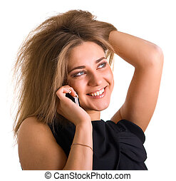 smiling girl with cellular phone
