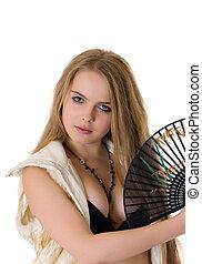 blonde with a black fan