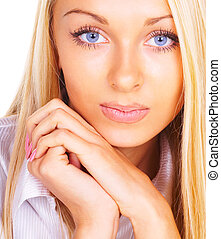 Portrait of the blonde with blue eyes
