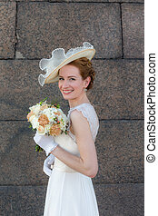 bride against the wall