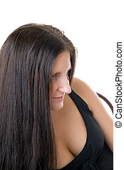 brunette with long hair