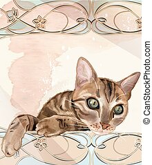 Portrait of the cat in watercolor style. Cat has been drawn...