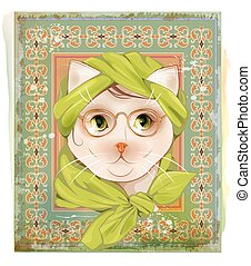 portrait of  the cat with glasses on the vintage background