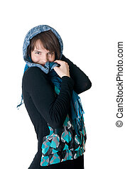 girl with a blue scarf