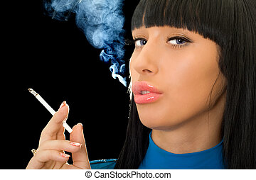 Portrait of the cute woman with a cigarette