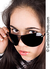 Portrait of the girl in sunglasses. Isolated