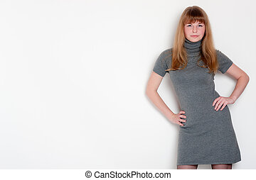 girl on a white background