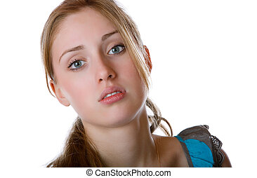 Portrait of the girl on a white background