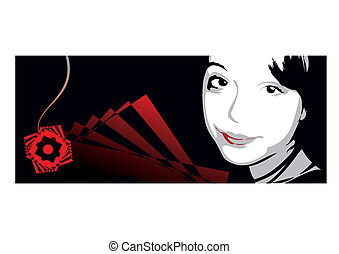 Portrait of the girl on an abstract background