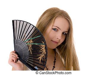 girl with a black fan