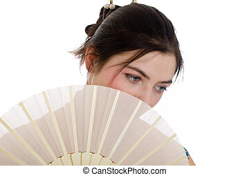 girl with a fan
