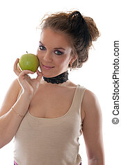 girl with a green apple