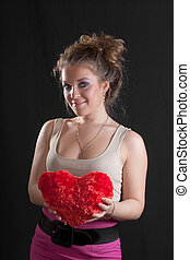 girl with a red heart