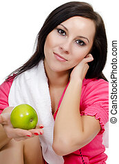 Portrait of the girl with apple