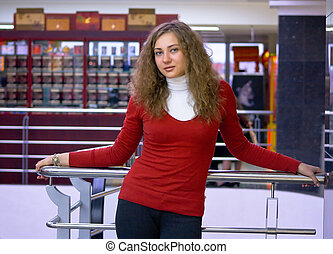 young girl in shop