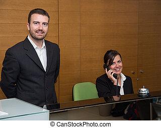 Portrait of the hotel reception staff