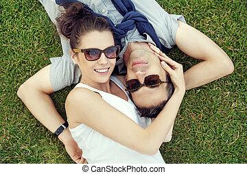 Portrait of the joyful marriage couple