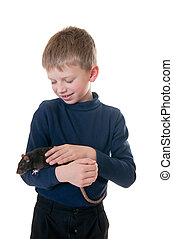 boy with a domestic rat