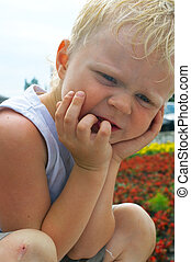 little boy with blond hair