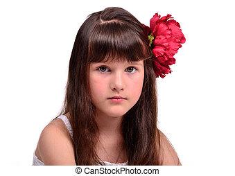 Portrait of the little girl flamenco dancer