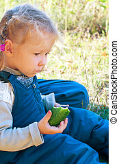 girl with cucumber